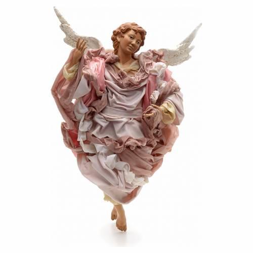 Ange rose terre cuite crèche Napolitaine 45 cm s1
