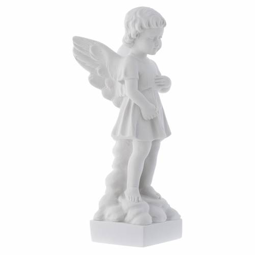 Angel and flowers in Carrara marble s2