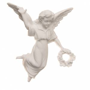 Funeral products: Angel with crown, reconstituted carrara marble bas-relief, 11cm.