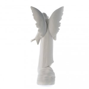 Angel with flowers in reconstituted marble, 100 cm s3