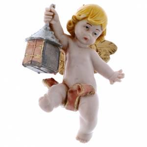 Angeli: Angelo con lanterna rosa Fontanini 7cm tipo porcellana