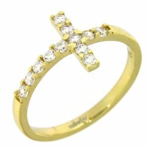 Anillo AMEN cruz plata 925 dorado con circones blancos s4