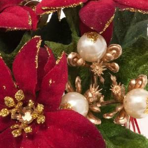 Anillo de la vela con nochebuena y bayas decoraciones navideñas s2