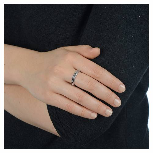 Anillo rosario AMEN plata 925 circones negros y Rodio s4