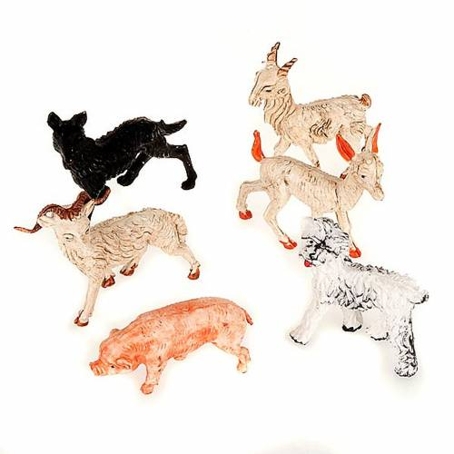 Set 6 animali per presepe 10 cm s1