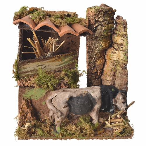Animated eating ox, for nativities measuring 10cm s1
