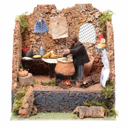 Animated man making polenta, 10cm Neapolitan Nativity s1