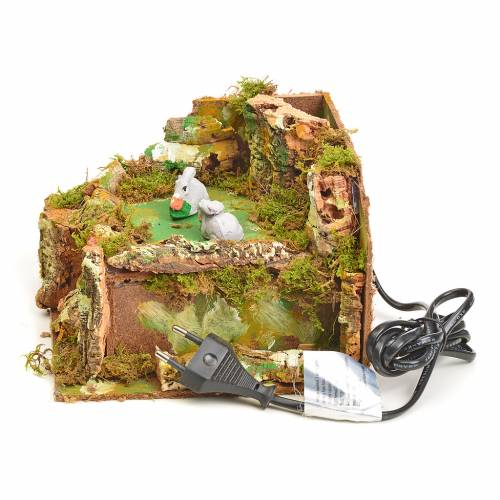 Animated nativity scene figurine, 2 rabbits, 8cm s3