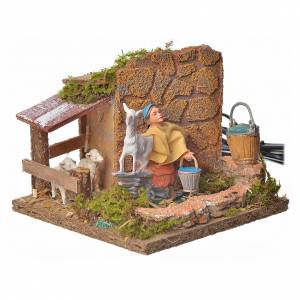 Animated nativity scene figurine, shepherd with sheep, 10 cm s6