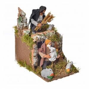 Animated nativity scene figurine, two shepherds and rabbits 8cm s2
