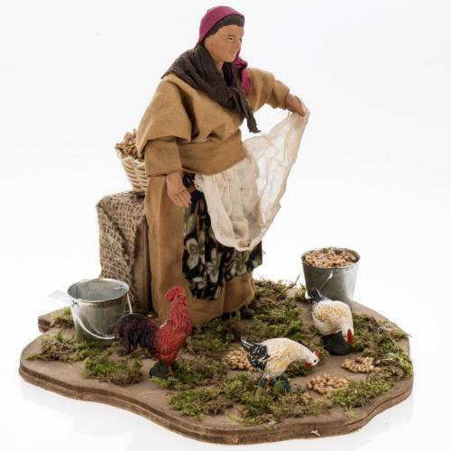 Animated nativity scene, woman feeding geese 14 cm s1