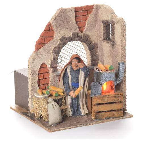 Animated woman with corn 10cm Neapolitan Nativity s2
