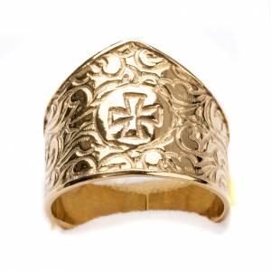 Anneau épiscopal argent 800 doré croix s4