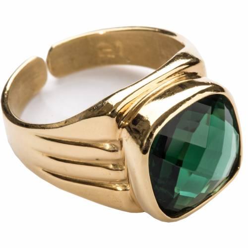 Anneau épiscopal argent 800 quartz vert s1