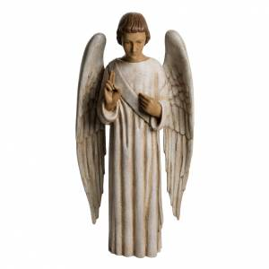 Annunciation Angel statue in painted Bethléem wood, 60 cm s1