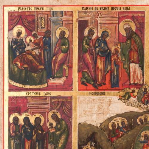 Antique icon 'The 12 great feasts of the liturgical year&#0 3