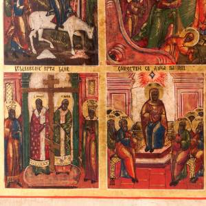 Antique icon 'The 12 great feasts of the liturgical year&#0 s6