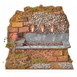 Fountains: Antique nativity fountain with 3 streams 24x12x19cm