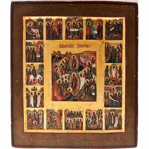 Antique Russian icon, Sixteen Great Feasts, Mstjora XIX century s1