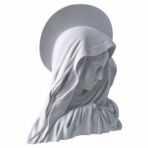Applique Vierge avec auréole 28 cm marbre blanc s2