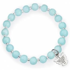 Armbänder AMEN: Armband AMEN für Kinder hellblaue Perlen Murano Glas