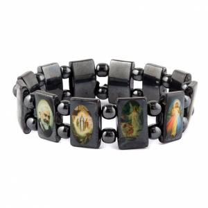 Religiöse metallische Armbänder  mit Bilder: Armband Hematit mehrere Bilder oval