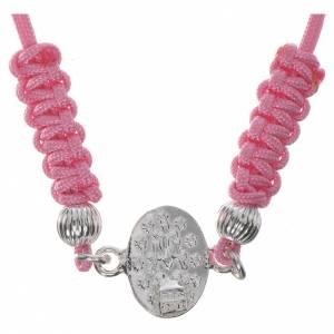 Silber Armbänder: Armband Wunderbare Medaille Silber 800 rosa Band