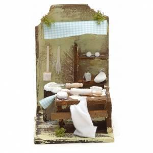 Atelier du boulanger en miniature pour crèche 15x10 cm s1