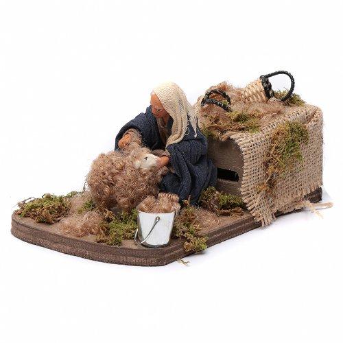 Nativity scene figurine, Sheep shearer in clay10cm s2