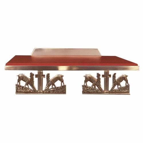 Atril de mesa latón fundido dorado y simil cuero ciervos s1