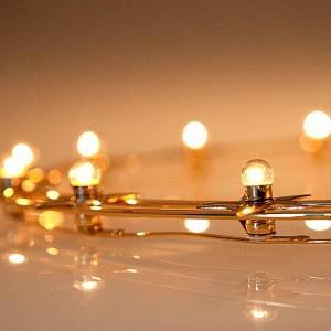 Aureola luminosa Lampadine ottone dorato diam. 40 cm s3