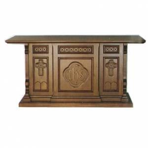 Autel bois massif style gotique 200x89x98 cm gravure IHS s1