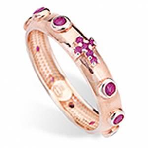 Bague chapelet AMEN argent 925 zircons rouges Rosé s1