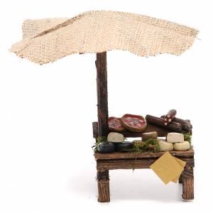 Aliments en miniature: Banc crèche avec parasol et pizza fromages 16x10x12 cm
