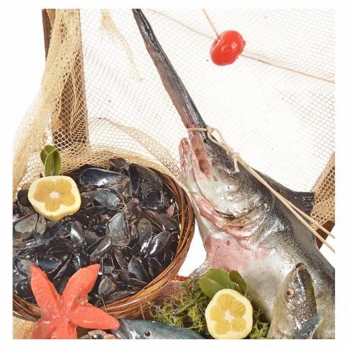 Banc du poissonnier en cire en miniature 20x22x40cm s5
