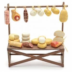 Belén napolitano: Banco de embutidos y quesos pesebre 12x11x4 cm