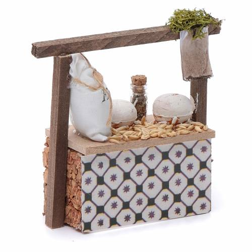 Banco farina e cereali per presepe 10x10x5 cm s3