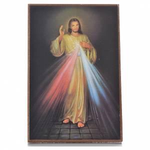 Bilder, Miniaturen, Drucke: Barmherziger Jesus Bild mit Unterlager 15x10cm