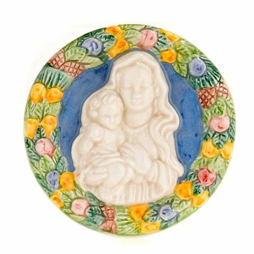 Bas relief baked clay round shape Virgin with baby Jesus s1