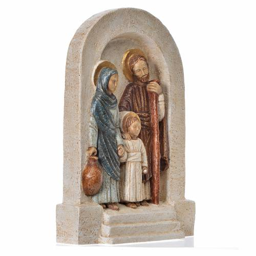 Bas-relief Holy Family in fair stone, painted brown mantle s3