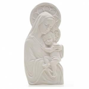 Articles funéraires: Bas relief marbre Vierge à l'enfant 14 cm