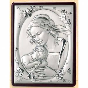 Bas reliefs en argent: Bas-relief Vierge avec enfant et fleurs argent or