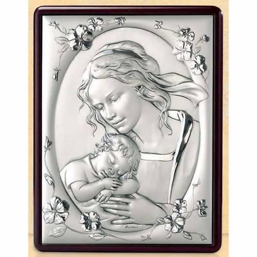 Bas-relief Vierge avec enfant et fleurs argent or s1