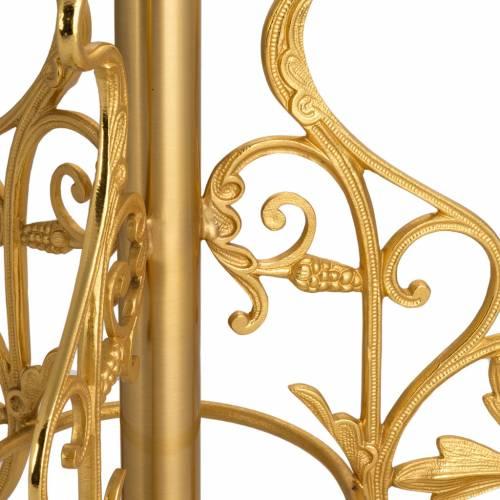 Base porta cruz procesional en bronce decoración hojas s3