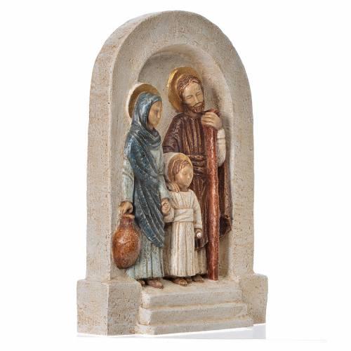Bassorilievo Sacra Famiglia pietra chiara dipinto vesti marrone s3