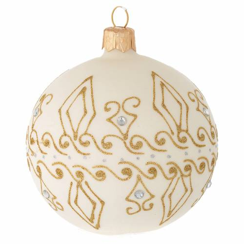 Bauble in beige blown glass with gold decorations 80mm s1