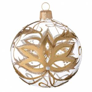 Christmas balls: Bauble in blown glass with gold flower 80mm