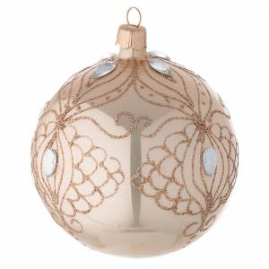 Bauble in gold blown glass with gold tree decoration 100mm s2