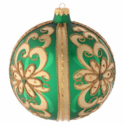Bauble in green blown glass with gold glitter decoration 150mm s2