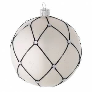 Bauble in white blown glass with black decoration 100mm s2